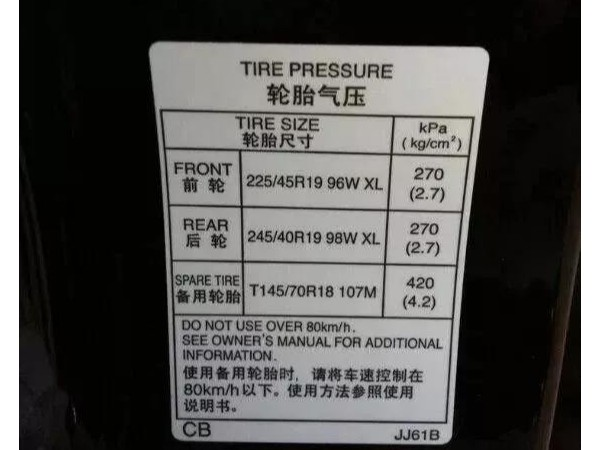 汽车胎压标签